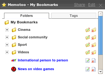 Access your bookmarks stored in Memotoo.com